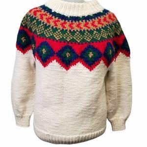 Handknit Oversized Fair Isle Chunky Sweater Size Extra Large